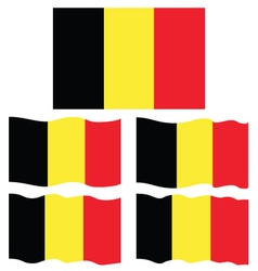 Flat and Waving Flag Of Belgium vector image