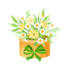 Floral arrangement with field flowers and twigs in vector