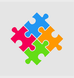 four color pieces puzzle square 4 steps puzzle vector image
