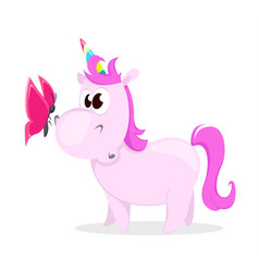 Funny pink unicorn with butterfly cute magic vector