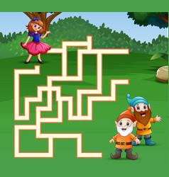 Game snow white maze find their way to the dwarf vector