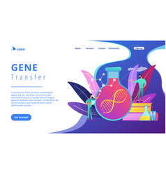 Gene therapy concept landing page vector
