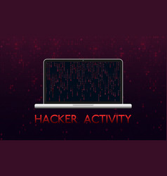 hacker activity concept hacked laptop on red vector image