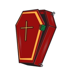Halloween cartoon coffin isolated on white vector image