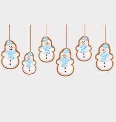 hanging gingerbread snowmans cookies vector image