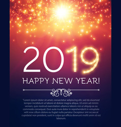 happy hew 2019 year fileworks lights and bokeh vector image