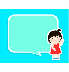 happy little girl kid with empty speech bubble vector image