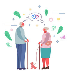 happy romantic elderly couple flat vector image