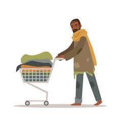 Homeless black man character pushing shopping cart vector
