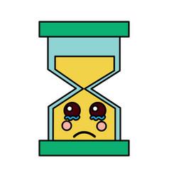 Hourglass time cry kawaii character vector