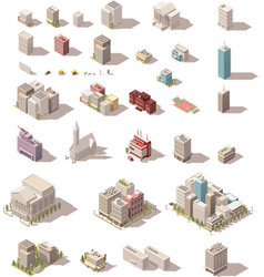 Isometric low poly buildings set vector