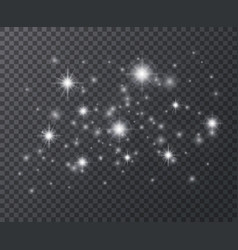 light effect white sparks and star glittering vector image