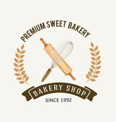 Logo symbol bakery template bread and bun vector