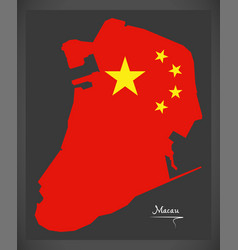 macau china map with chinese national flag vector image