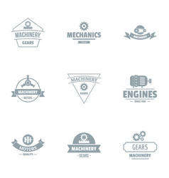 Machinery logo set simple style vector