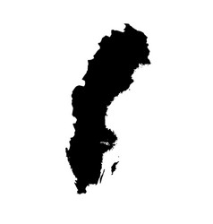 Map sweden isolated black on vector