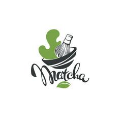 matcha tea label logo emblem and tag vector image