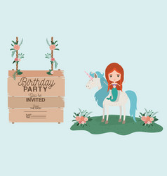 mermaid with unicorn and wooden label invitation vector image