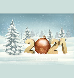 Merry christmas and new year holiday landscape vector
