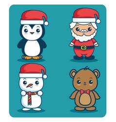 merry christmas kawaii concept vector image
