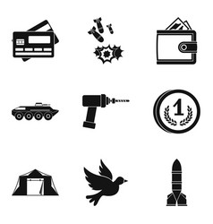 Military force icons set simple style vector