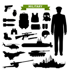Military transport gun ammunition and officer vector