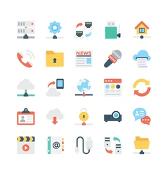 Network and Communications Icons 1 vector image
