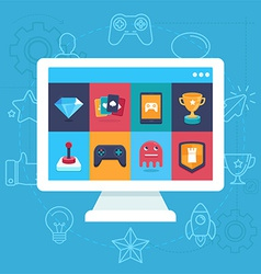 Online and mobile game icons vector