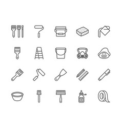 Painter tools flat line icons set home renovating vector
