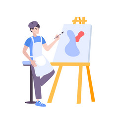 Painting art flat composition vector