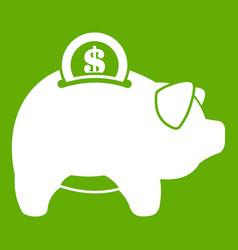 pig money box icon green vector image