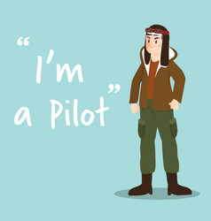 pilot character on sky blue background flat design vector image