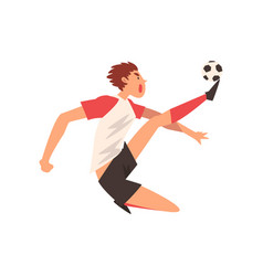 professional soccer player kicking ball football vector image