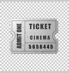 Realistic silver cinema ticket isolated object vector