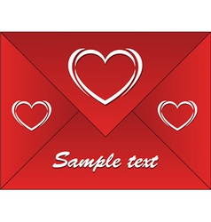 Red envelope with hearts vector