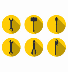 Repair tools icons with a long shadow vector