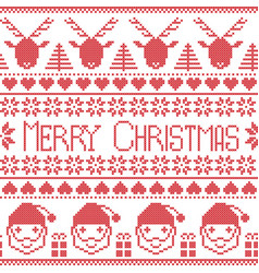Scandinavian Merry Christmas pattern with Santa vector image