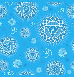 Seamless pattern with vishuddha chakra vector