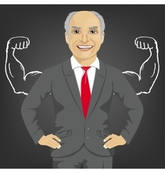 Senior businessman with depicted muscles vector image