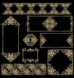 Set of frames and lines gold and black design vector