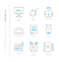 set of school icons and concepts in mono thin vector image