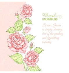 Silhouette rose with sample text vector