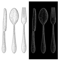 spoon fork knife cutlery set hand drawn sketch vector image