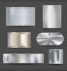 steel banners realistic metallic shiny plaque vector image