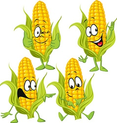 Sweet corn cartoon with hands vector