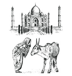 taj mahal an ancient palace in india monk with vector image