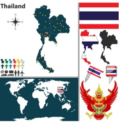 Thailand map world vector