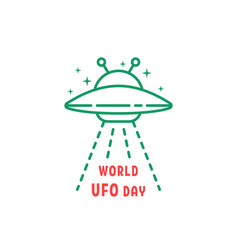 Thin line world ufo day icon vector
