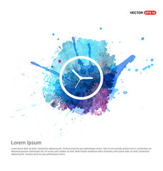 Time clock icon - watercolor background vector