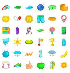 Trophy icons set cartoon style vector
